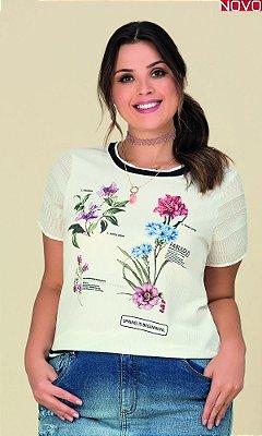 Blusa com Estampa Sublimada Floral   20517
