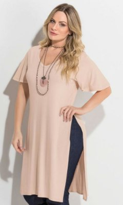 Blusa Alongada com Fenda Lateral   272316