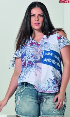 T-Shirt com Recortes em Tule e Amarração nas mangas   31200