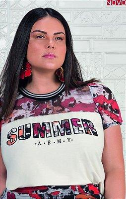 T-Shirt com Bordado e Recortes em Tule   31198