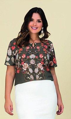 Blusa com Estampa Sublimada Floral  20515