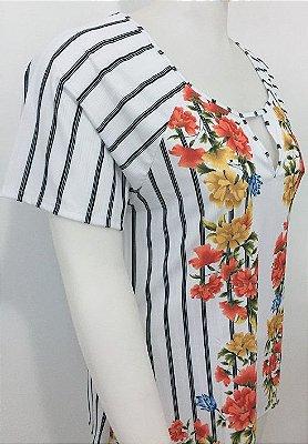Blusa com Listras e Estampa Floral   20574