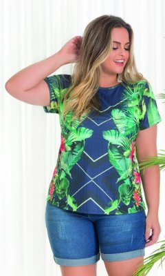 Blusa com Estampa Sublimada Tropical   20596