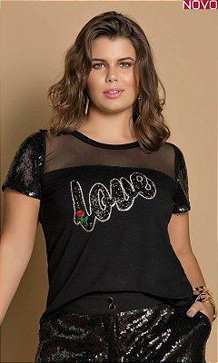 T-Shirt com Mangas em Paetês   31294