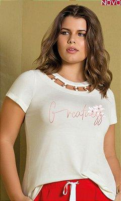 T-Shirt com Decote Vazado e Ilhós Transpassado   31301