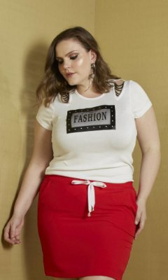 T-Shirt com Detalhe de Bordado em Corrente   31310