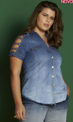 Camisa Jeans com Tiras Transpassadas nas Mangas 6618