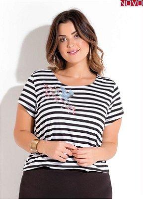 T-Shirt Listrada com Detalhe de Bordado   225750