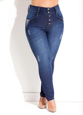 Calça Jeans Cintura Alta com Puídos   137004