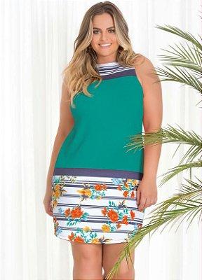 Vestido Curto Com Estampa Floral   20576
