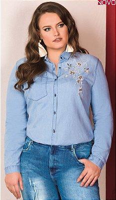 Camisa Jeans com Detalhe Bordado   20656