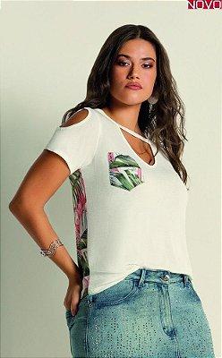 T-Shirt com Abertura Gota no Decote    31445