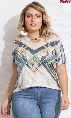 Blusa Estampada com Detalhe Decote Gota     20072