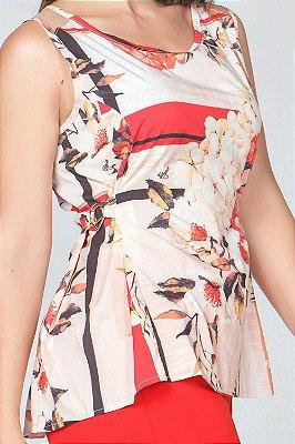 Blusa Estampada com Detalhe de Meia Argola   31629