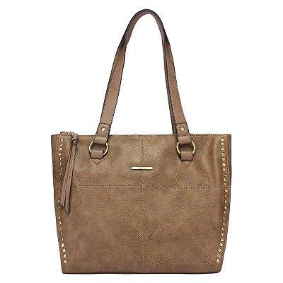 Shopping Bag Grande com Costura e Metais nas Laterais - Taupe - 44903