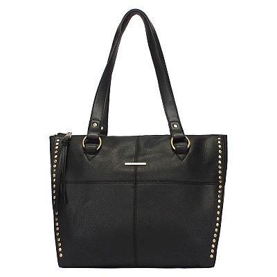 Shopping Bag Grande Preto com Costura e Metais nas Laterais - 44903pr