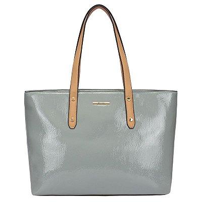 Shooping Bag Verniz Bicolor Azul  - 44925 az