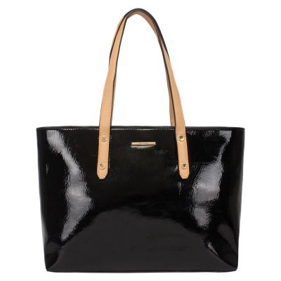 Shooping Bag Verniz Bicolor Preto  44925 pr