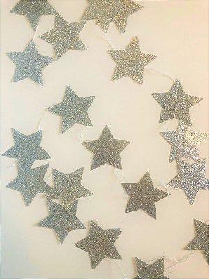 Fio de Estrelas Prata Gliter