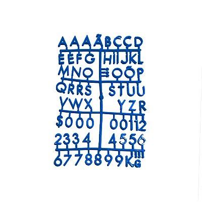 Cartela Extra de Letras - Cor Azul
