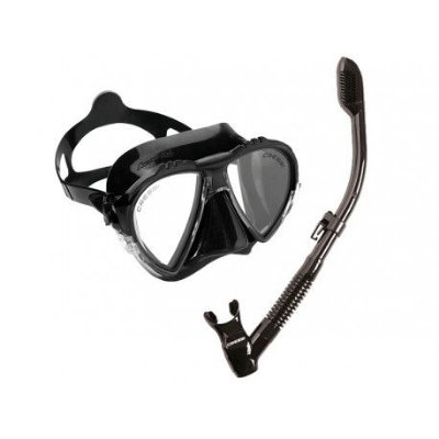 Kit Matrix 1 Máscara de mergulho, 1 Snorkel e 1 Sacola Silicone Preto - Cressi