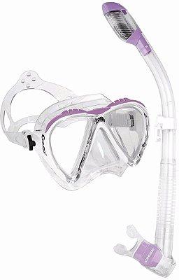 Kit Lince 1 Máscara de mergulho, 1 Snorkel e 1 Sacola Silicone Lilas/Transparente - Cressi