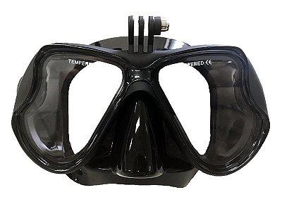 Máscara de mergulho Barbus C/Suporte Para Gopro Silicine Preto - Cetus