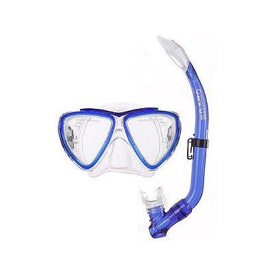 Kit Máscara Bari PVC Azul Infantil - Cetus