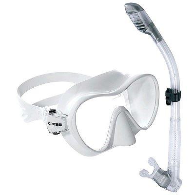 Kit Frameless 1 Máscara de mergulho, 1 Snorkel e 1 Sacola Silicone Branco - Cressi