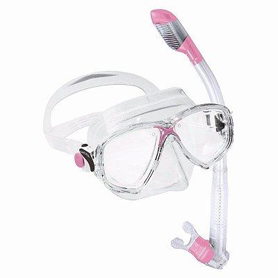 Kit Marea 1 Máscara de mergulho, 1 Snorkel e 1 Sacola Silicone Rosa/Transparente - Cressi