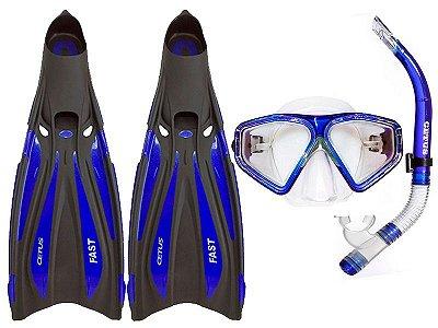 Kit Máscara +Nadadeira+Snorkel+Bolsa Fast Azul c/Preto - Cetus