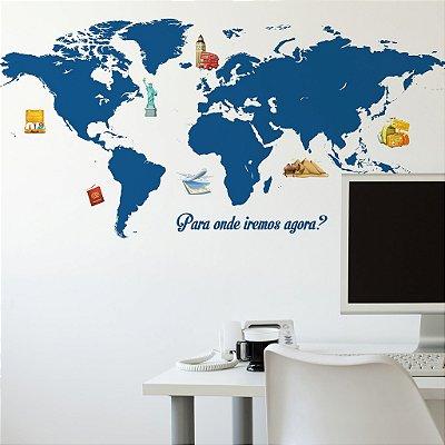 Adesivo de Parede Mapa Mundo Afora