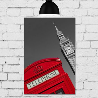 Placa Decorativa MDF Foto Londres Big Ben Telephone