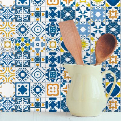 Adesivo de Azulejo Renascença 15x15 cm com 36 un