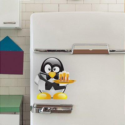 Adesivo de Geladeira Pinguim Cerveja 25x25 cm