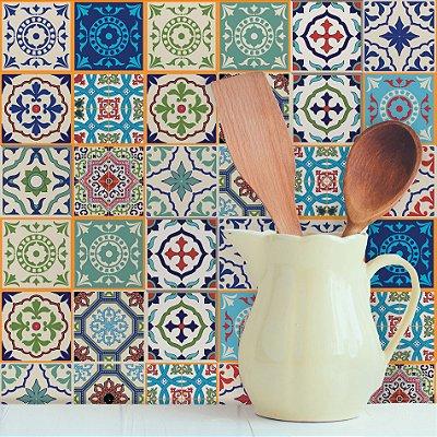 Adesivo de Azulejo Hidraulico Santa Cruz 15x15 cm com 36 un