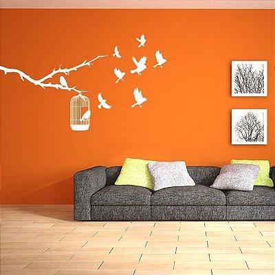 Adesivo de Parede Gaiola Pássaros Liberdade (Branco)
