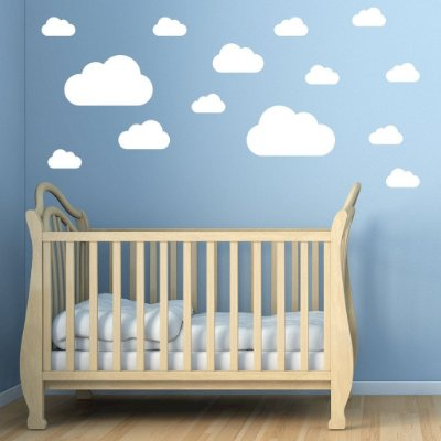 Adesivo de Parede Infantil Nuvens Brancas