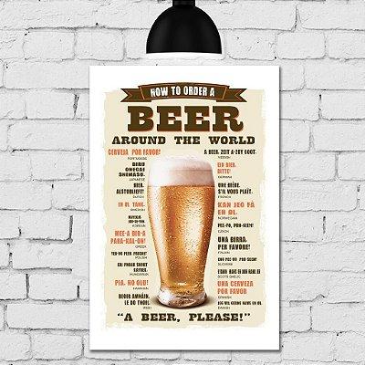 Placa Decorativa MDF Como Pedir Cerveja