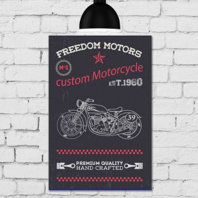Placa Decorativa MDF Vintage Freedom Motors