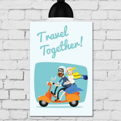 Placa Decorativa MDF Namorados na Moto Travel Together