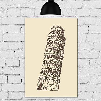 Placa Decorativa MDF Torre de Pisa Itália