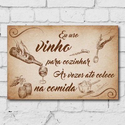 Placa Decorativa MDF Frase Vinho
