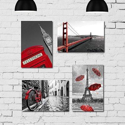 Kit Placa Decorativa MDF Cidades em Detalhe Vermelho 4 unidades