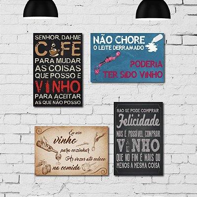 Kit Placa Decorativa MDF Frases Vinho 4 unidades