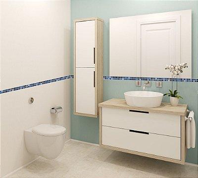 Adesivo de Pastilhas em Faixas Azul Royal 3x30 cm com 15 un