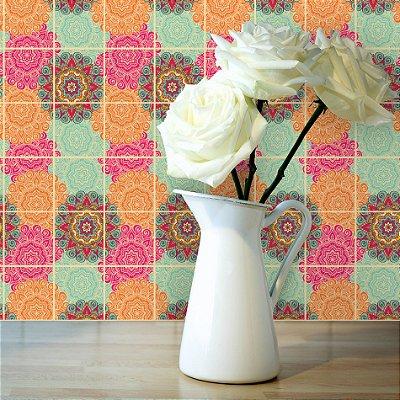Adesivo de Azulejo Floral Boho 15x15 cm com 36 un
