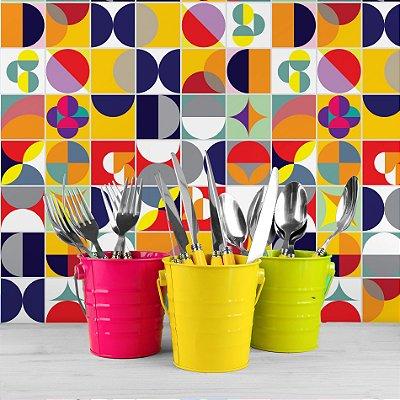 Adesivo de Azulejo Colorido Retrô 15x15 cm com 36 un