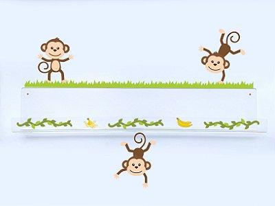 Livreiro de Parede Infantil Macacos Amigos