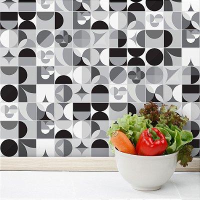 Adesivo de Azulejo Geométrica Preto e Branco 20x20 cm com 24 un